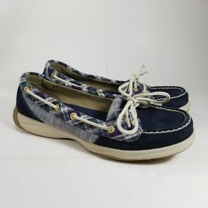 Sperry Top Sider Blue Suede Plaid Boat Shoe Size 7